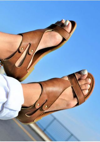 Solid Zipper Hollow Out Sandals