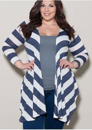 Plus Size Striped Asymmetric Long Sleeve Cardigan