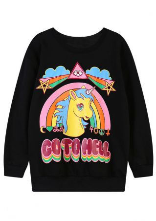 Unicorn Letter Printed O-Neck Sweatshirt