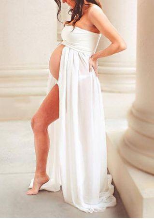 Solid Front Slit Off Shoulder Maternity Maxi Dress