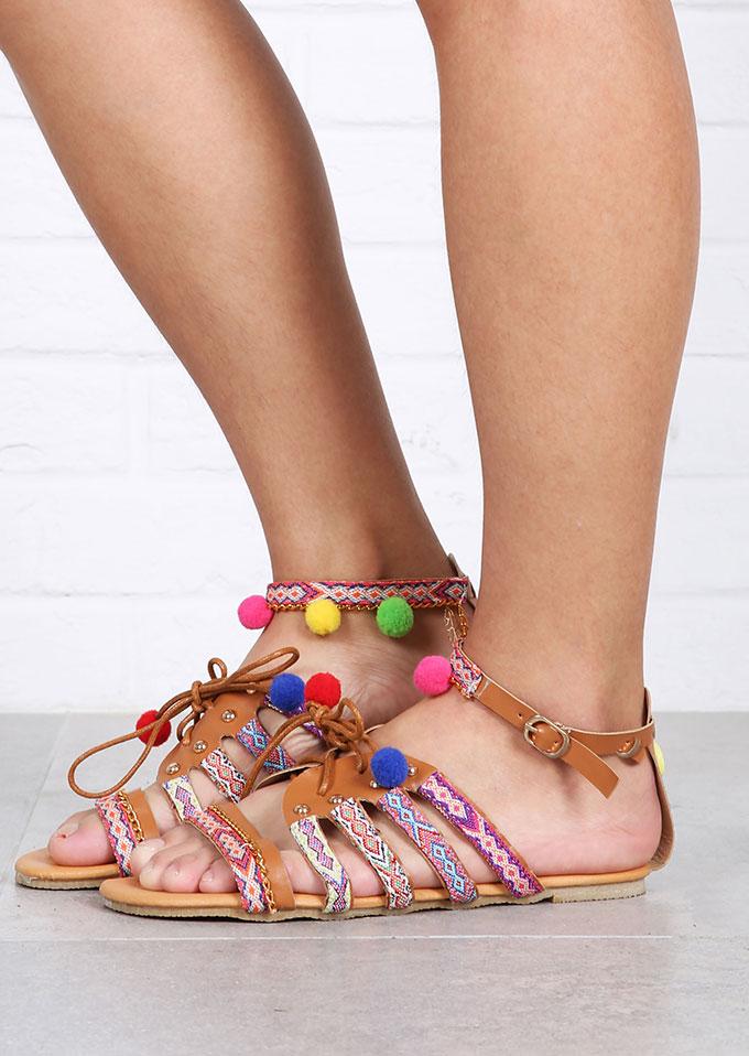 Multicolor Pompon Leaf Sandals