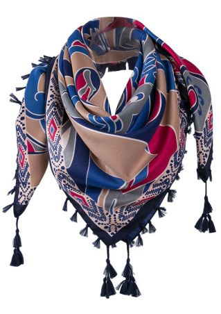 Printed Tassel Splicing Square Scarf