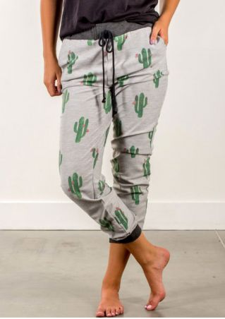 Cactus Drawstring Splicing Pocket Pants