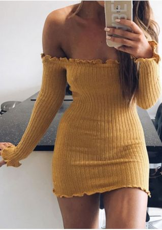 Solid Off Shoulder Bodycon Dress