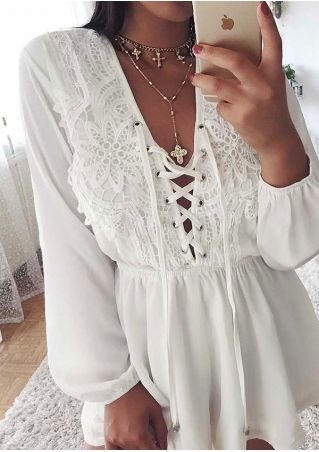 Solid Lace Up Lace Splicing Romper without Necklace