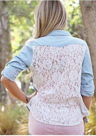 Lace Floral Splicing Button Shirt