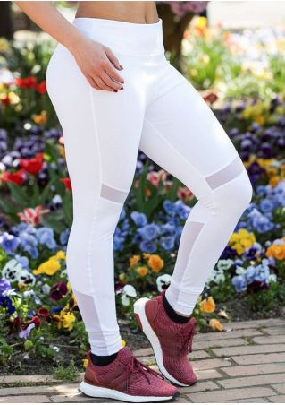 Solid Mesh Splicing Skinny Sport Pants
