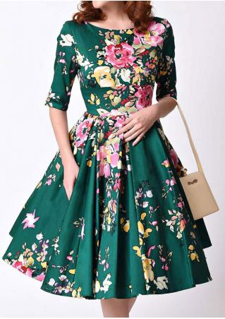 Floral Printed O-Neck Casual Dress