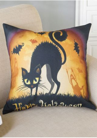 Happy Halloween Cat Printed Pillow Case