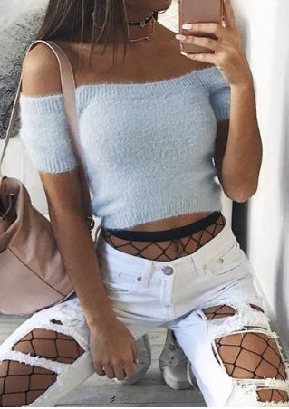 Solid Off Shoulder Crop Top without Necklace