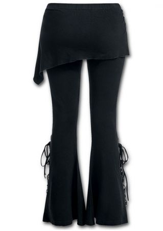 Solid Layered Lace Up Flare Pants