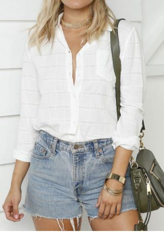 Solid Turn-Down Collar Pocket Shirt without Necklace