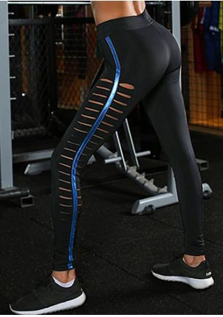 Hollow Out Splicing Sport Pants
