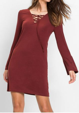 Solid Lace Up Long Sleeve Mini Dress without Necklace