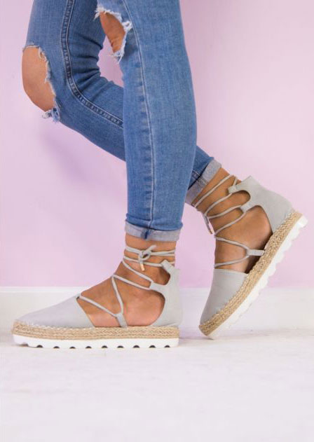 Solid Lace Up Round Toe Sandals - Bellelily