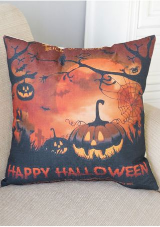 Happy Halloween Pumpkin Face Pillow Case
