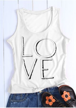 Love Printed O-Neck Tank