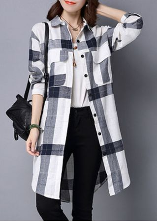 Plaid Printed Button Shirt without Necklace