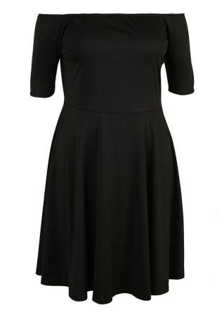 Plus Size Solid Off Shoulder Casual Dress