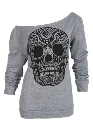 Plus Size Halloween Skull One Shoulder Long Sleeve Sweatshirt