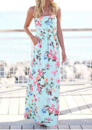 Floral Pocket Strapless Maxi Dress