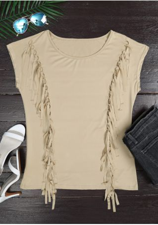 Solid Tassel Splicing O-Neck Tank