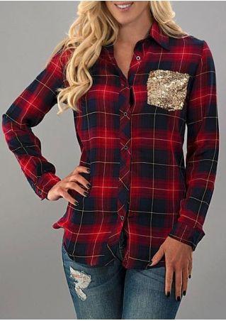 Plaid Sequined Pocket Turn-Down Collar Shirt