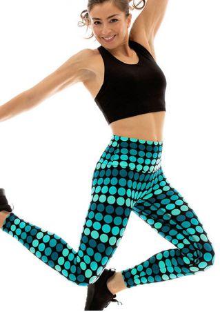 Dot Elastic Waist Skinny Sport Pants