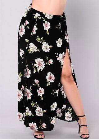 Plus Size Floral Slit Elastic Waist Maxi Skirt
