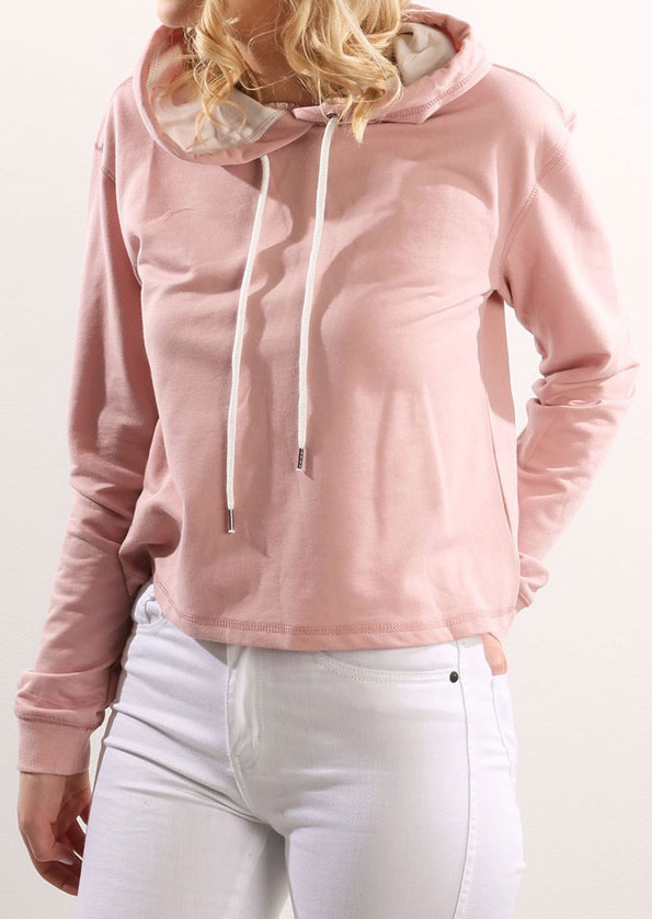 Solid Drawstring Hooded Crop Top