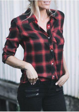 Plaid Turn-Down Collar Pocket Shirt