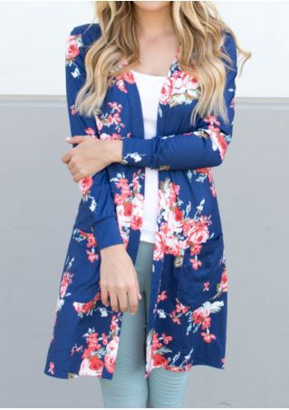 Floral Long Sleeve Pocket Cardigan