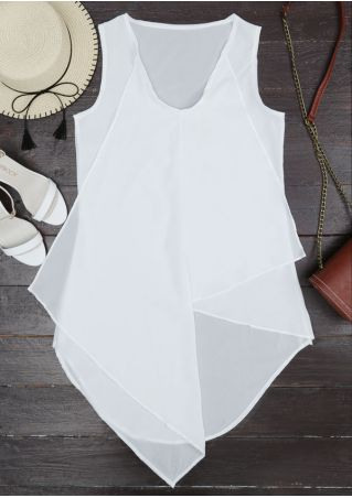 Solid Asymmetric V-Neck Tank