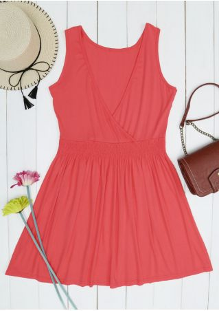 Solid Ruched Wrap Sleeveless Mini Dress