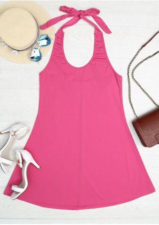 Solid Halter Backless Mini Dress