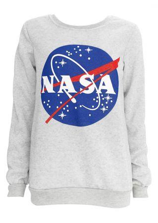 NASA Space Printed O-Neck Sweatshirt