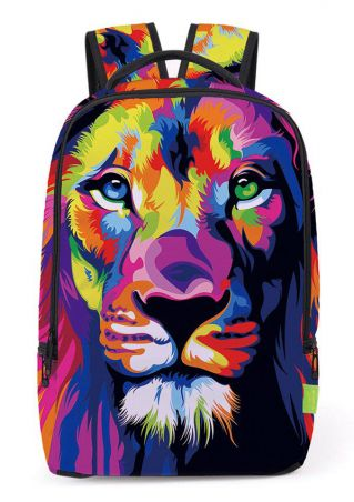 3D Multicolor Lion Printed Backpack