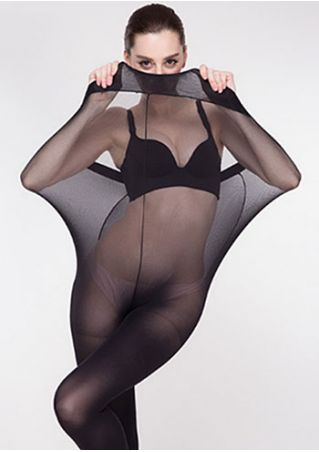 Solid See-Through Stretchy Pantyhose