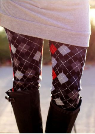 Plaid Elastic Waist Skinny Leggings