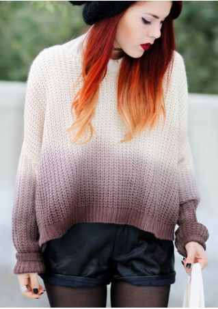 Gradient Color Batwing Sleeve Sweater without Necklace