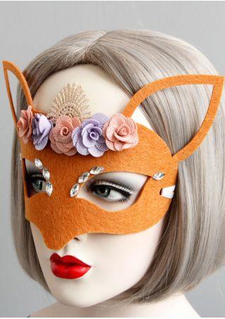 Halloween Applique Fox Half Face Felt Mask