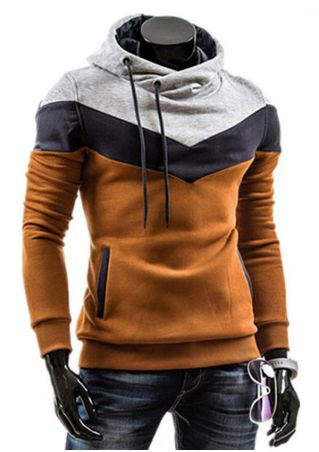 Color Block Drawstring Pocket Hoodie