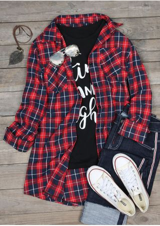 Plaid Pocket Button Turn-Down Collar Shirt