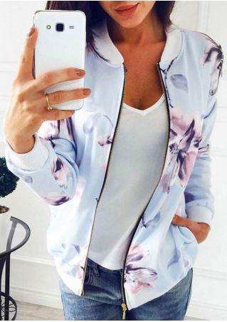 Floral Zipper Pocket Long Sleeve Jacket