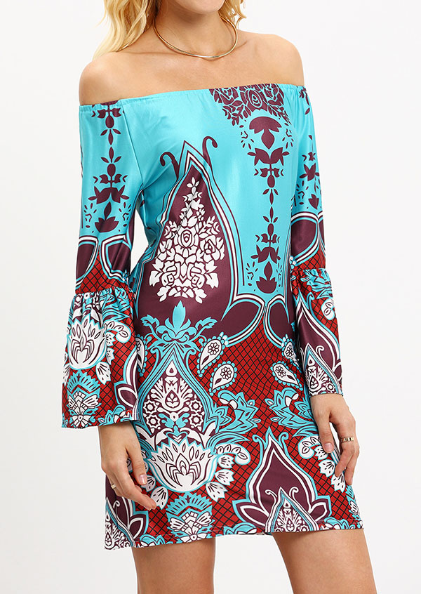 Printed Off Shoulder Mini Dress without Necklace 153853