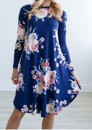 Floral Long Sleeve Casual Dress