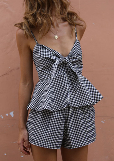 Plaid Tie Tank and Shorts Set without Necklace