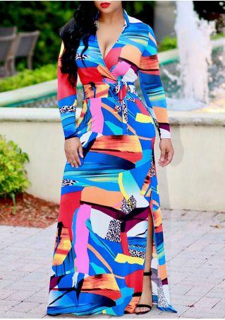 Plus Size Color Block Wrap Slit Maxi Dress
