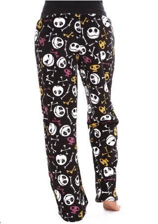 Halloween Skull Drawstring Elastic Waist Pants