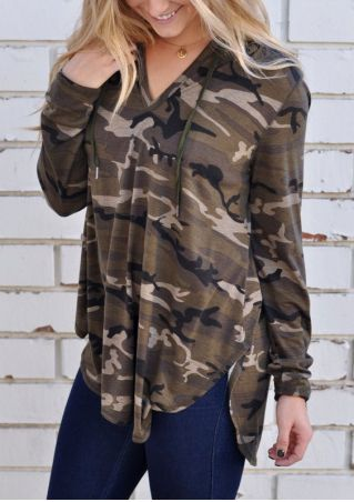 Camouflage Printed Asymmetric Long Sleeve Hoodie without Necklace